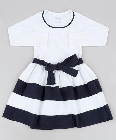 Vestido-Infantil-com-Laco-e-Listras-Manga-Curta--Off-White-9936562-Off_White_1