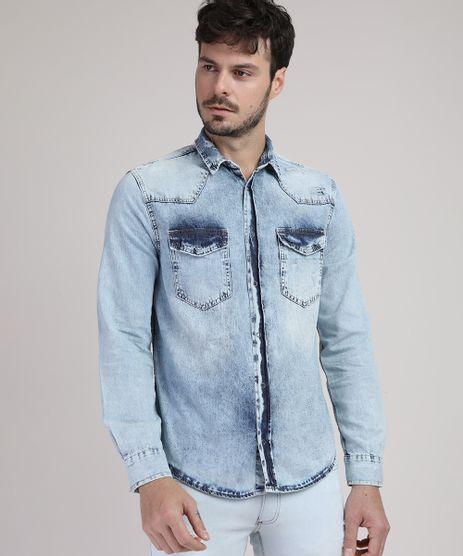 Camisa-Jeans-Masculina-Slim-com-Bolsos-Manga-Longa-Azul-Claro-9943159-Azul_Claro_1