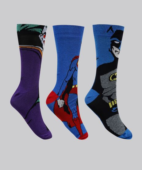 Kit-de-3-Meias-Masculinas-Batman-Coringa-e-Super-Homem-Multicor-9951404-Multicor_1