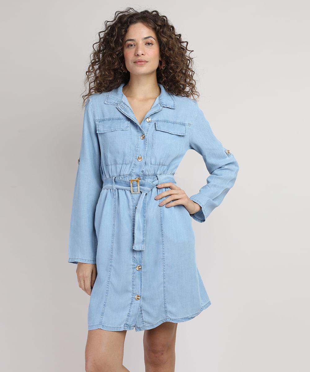 Vestido Chemise Jeans Feminino Curto com Bolsos e Cinto Manga Longa Azul Claro