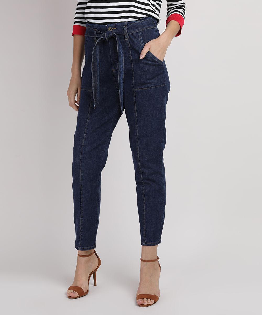 Calça Jeans Feminina Skinny Clochard Cintura Super Alta com Faixa para Amarrar Azul Escuro