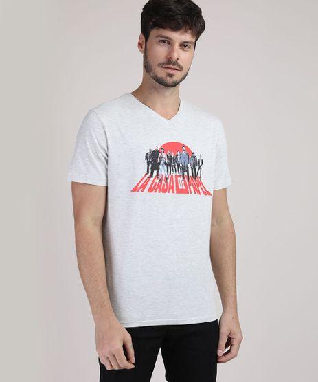 Camiseta-Masculina-La-Casa-de-Papel-Manga-Curta-Gola-V-Cinza-Mescla-Claro-9942106-Cinza_Mescla_Claro_1