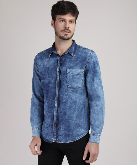 Camisa-Jeans-Masculina-Tradicional-Marmorizada-com-Bolso-Manga-Longa-Azul-Escuro-9943158-Azul_Escuro_1