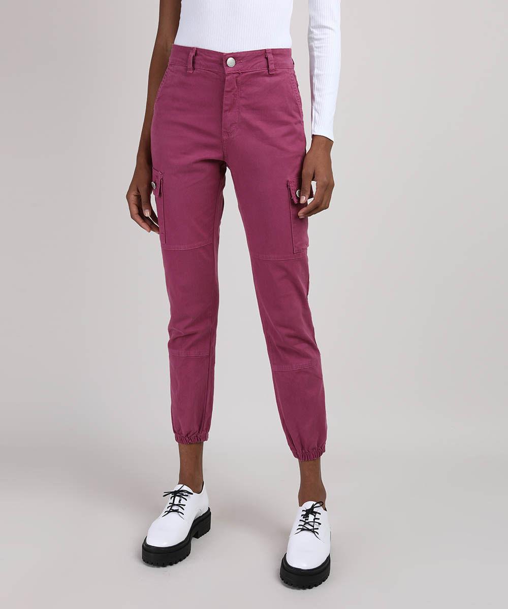 Calça de Sarja Feminina Skinny Jogger Cargo Cintura Alta Roxa