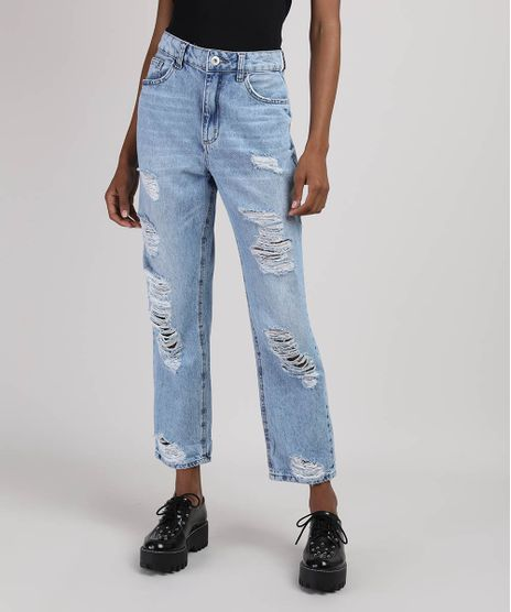 Calca-Jeans-Feminina-Mom-Cropped-Cintura-Super-Alta-Destroyed-Azul-Claro-9949481-Azul_Claro_1