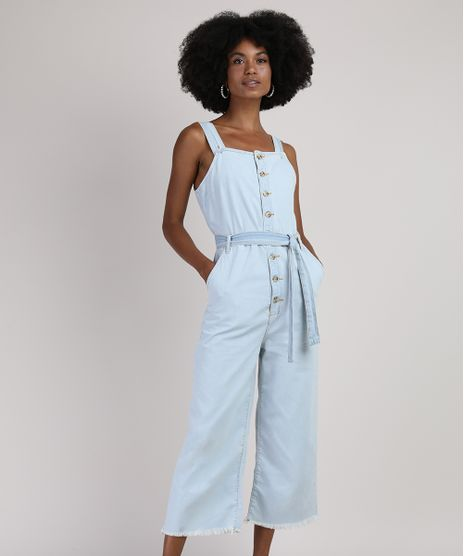 Macacao-Jeans-Feminino-Pantacourt-com-Botoes-e-Faixa-para-Amarrar-Alca-Larga-Azul-Claro-9946101-Azul_Claro_1