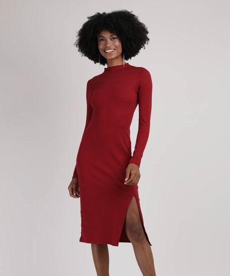 Vestido-Feminino-Midi-Canelado-com-Vazado-e-Fenda-Manga-Longa-Gola-Alta-Vermelho-Escuro-9942993-Vermelho_Escuro_1