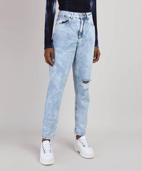 Calca-Jeans-Feminina-Mom-Marmorizada-Cintura-Alta-Destroyed-Azul-Claro-9928376-Azul_Claro_1