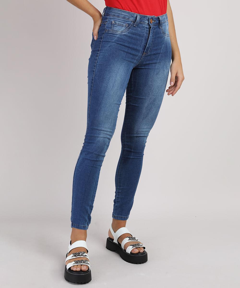 Calça Jeans Super Skinny Cintura Média Energy Jeans Azul Escuro