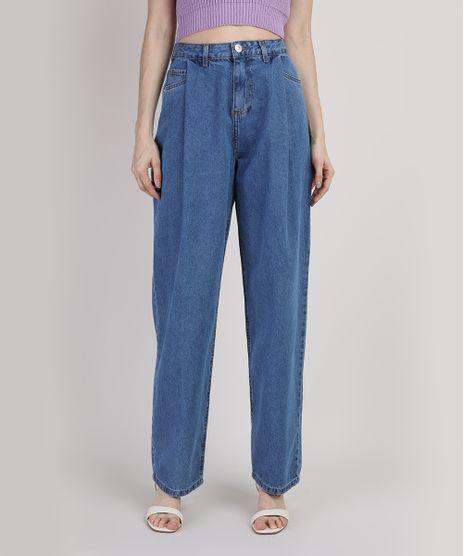 Calca-Jeans-Feminina-Mindset-Slouchy-Cintura-Super-Alta-com-Pregas-Azul-Medio-9948348-Azul_Medio_1