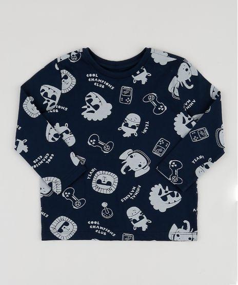 Camiseta-Infantil-Estampada-de-Bichos-com-Video-Game-Manga-Longa-Azul-Marinho-9943223-Azul_Marinho_1