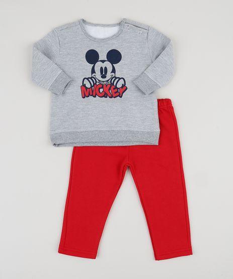 Conjunto-Infantil-Mickey-de-Blusao-Cinza-Mescla---Calca-de-Moletom-Vermelho-9948042-Vermelho_1