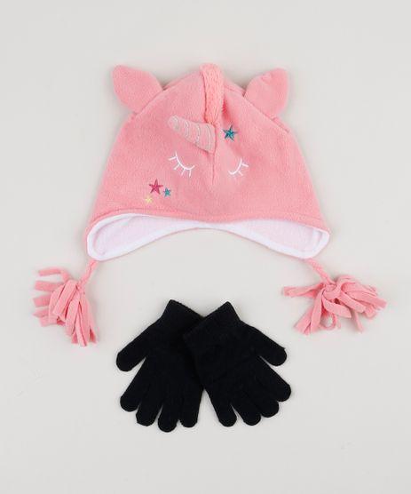 Kit-Infantil-de-Gorro-de-Fleece-Unicornio---Luva-Rosa-9785475-Rosa_1