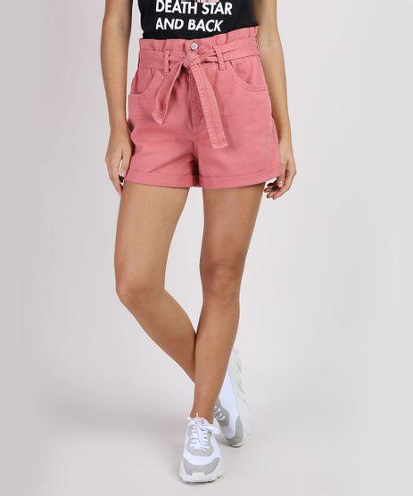 Short-de-Sarja-Feminino-Clochard-Cintura-Super-Alta-com-Faixa-para-Amarrar-Rosa-9949480-Rosa_1