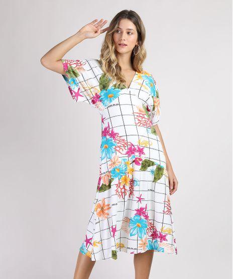 Vestido-Feminino-Midi-Estampado-Quadriculado-com-Flores-Manga-Curta-Branco-9952012-Branco_1