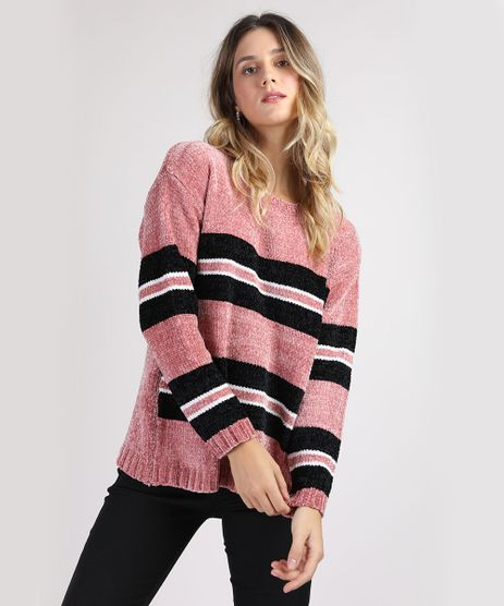 Sueter-de-Trico-Feminino-com-Listras-Decote-Redondo-Rosa-Escuro-9814954-Rosa_Escuro_1