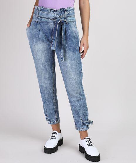 Calca-Jeans-Feminina-Mom-Clochard-Cintura-Super-Alta-Marmorizada-com-Faixa-para-Amarrar-Azul-Medio-9951584-Azul_Medio_1