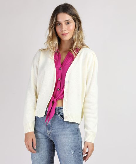 Cardigan-de-Trico-Feminino-Decote-V-Amarelo-Claro-9945792-Amarelo_Claro_1