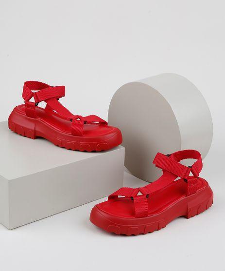 Papete-Feminina-Oneself-Flatform-Tratorada-com-Velcro-Vermelha-9952380-Vermelho_1