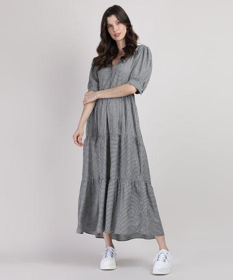 Vestido-Feminino-Mindset-Longo-Estampado-Xadrez-Vichy-com-Recortes-Manga-Bufante-Preto-9950425-Preto_1