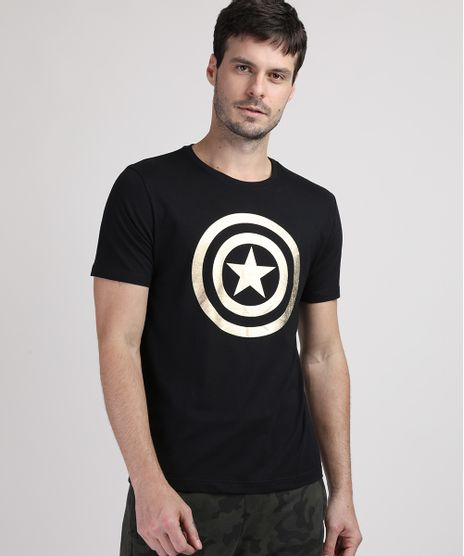 Camiseta-Masculina-Capitao-America-Metalizado-Manga-Curta-Gola-Careca-Preta-9949450-Preto_1