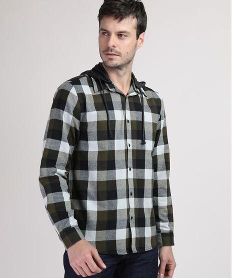 Camisa-de-Flanela-Masculina-Comfort-Estampada-Xadrez-com-Capuz-Removivel-Preta-9809547-Preto_1