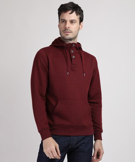 Blusao-de-Moletom-Masculino-Texturizado-com-Capuz-e-Bolso-Vinho-9784436-Vinho_1