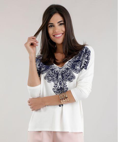 6ff0bbe9f Blusa-com-Estampa-Etnica-Off-White-8598581-Off White 1