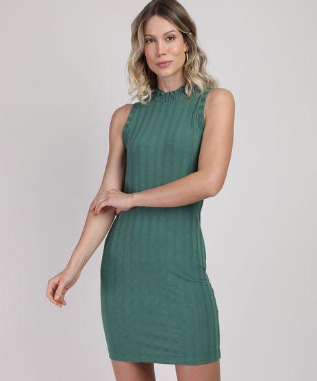 Vestido-Feminino-Curto-Canelado-Sem-Manga-Gola-Alta-com-Lastex-Verde-9951120-Verde_1
