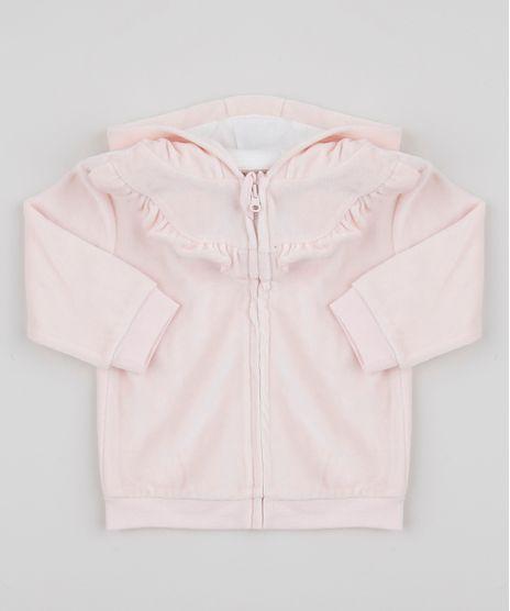 Blusao-Infantil-em-Plush-com-Capuz-e-Babados-Rosa-Claro-9851383-Rosa_Claro_1