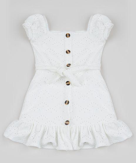 Vestido-Infantil-em-Laise-Tal-Mae-Tal-Filha-com-Faixa-para-Amarrar-Manga-Curta-Off-White-9947397-Off_White_1