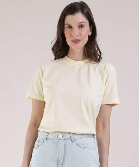 T-Shirt-Feminina-Mindset-Manga-Curta-Decote-Redondo-Amarela-Claro-9394894-Amarelo_Claro_1