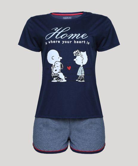Pijama-Feminino-Snoopy-Manga-Curta-Azul-Marinho-9946680-Azul_Marinho_1