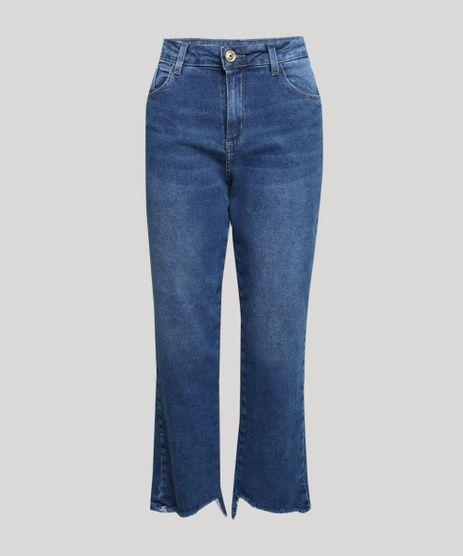 Calca-Jeans-Feminina-Sawary-Reta-Cintura-Alta-com-Barra-Irregular-Azul-Medio-9952540-Azul_Medio_1