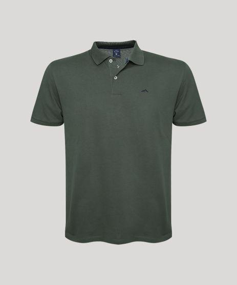 Polo-Masculina-Basica-em-Piquet-com-Bordado-Manga-Curta--Verde-Militar-9725321-Verde_Militar_1