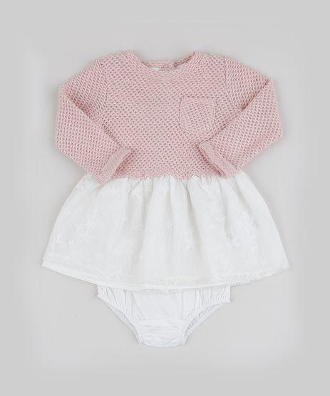 Vestido-Infantil-em-Trico-com-Renda-Manga-Longa---Calcinha-Rosa-9833229-Rosa_1