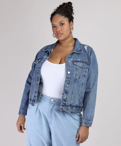 Jaqueta-Jeans-Feminina-Plus-Size-com-Bolso-e-Recorte-Azul-Escuro-9953191-Azul_Escuro_1