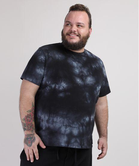 Camiseta-Masculina-Plus-Size-Tie-Dye-Manga-Curta-Gola-Careca-Preta-9953461-Preto_1