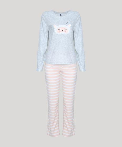 Pijama-Feminino-em-Fleece-Ovelhinha-Manga-Longa-Cinza-Mescla-9900206-Cinza_Mescla_1