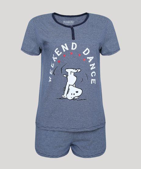 Pijama-Feminino-Snoopy-Listrado-Manga-Curta-Azul-Escuro-9946679-Azul_Escuro_1