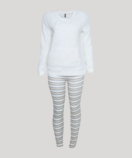 Pijama-Feminino-em-Fleece-Listrado-Manga-Longa-Off-White-9900204-Off_White_1