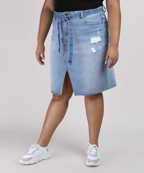 Saia-Jeans-Feminina-Plus-Size-com-Fenda-e-Faixa-para-Amarrar-Azul-Claro-9952782-Azul_Claro_1