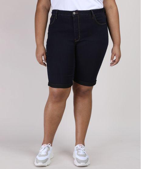 Bermuda-Jeans-Feminina-Ciclista-Plus-Size-com-Bolso-Cintura-Alta-Azul-Escuro-9952772-Azul_Escuro_1