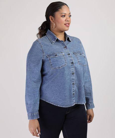 Camisa-Jeans-Feminina-Plus-Size-com-Bolsos-Manga-Longa-Azul-Media-9953140-Azul_Media_1