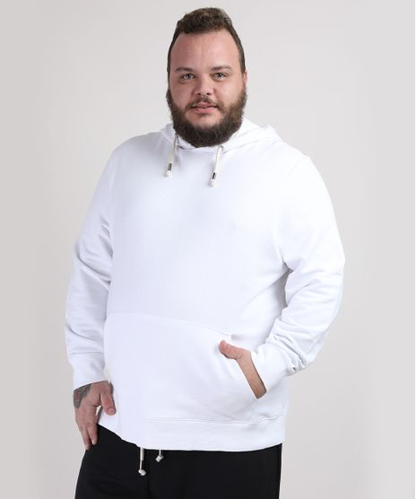 Blusao-de-Moletom-Masculino-Plus-Size-com-Capuz-e-Bolso-Branco-9953221-Branco_1