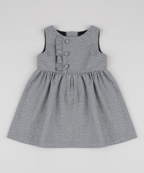 Vestido-Infantil-com-Botoes-Sem-Manga-Cinza-Mescla-9818770-Cinza_Mescla_1
