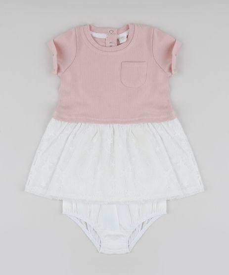 Vestido-Infantil-com-Bolsinho-Manga-Curta---Calcinha--Rosa-9833227-Rosa_1