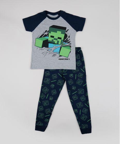 Pijama-Infantil-Minecraft-Estampado-Manga-Curta-Cinza-Mescla-9950814-Cinza_Mescla_1