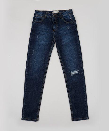 Calca-Jeans-Juvenil-com-Puidos-e-Bolsos-Azul-Escuro-9947095-Azul_Escuro_1