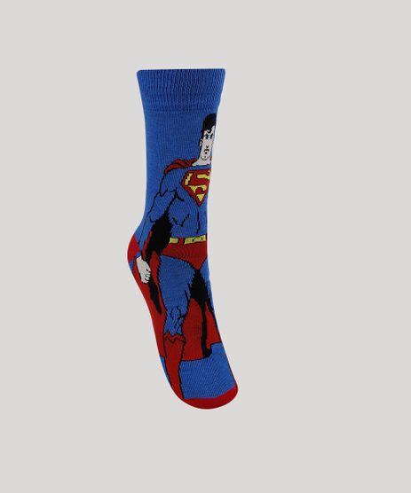 Meia-Masculina-Cano-Alto-Divertida-Super-Homem--Azul-9944805-Azul_1